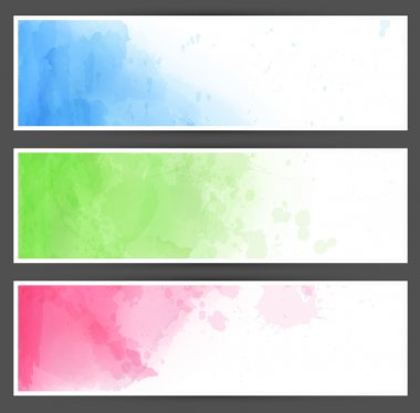 Colorful watercolor abstract banners.