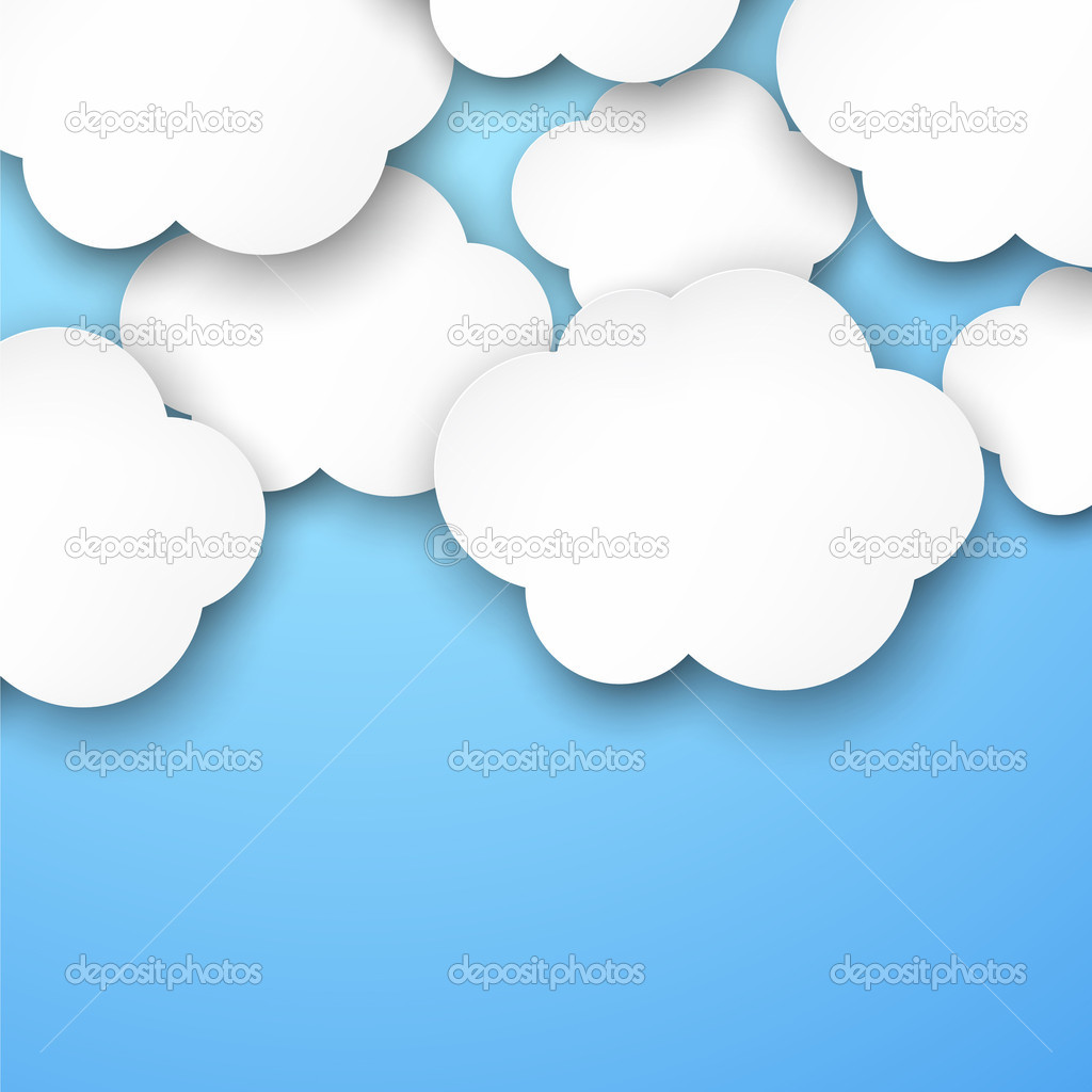 Paper white clouds on blue.