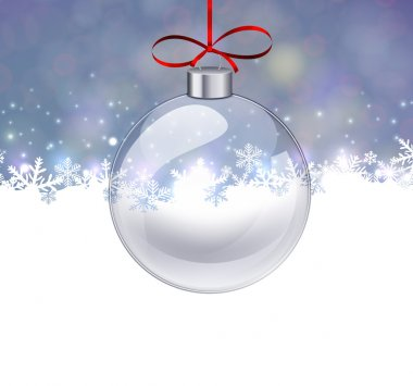 Silver christmas background with glass ball.