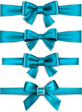 Satin blue ribbons. Gift bows.