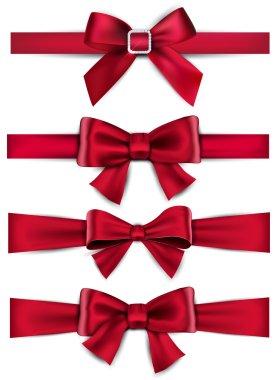 Satin red ribbons. Gift bows.