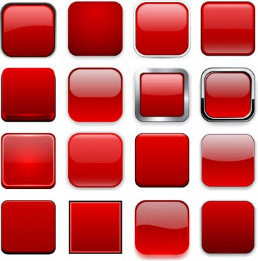 Square red app icons.