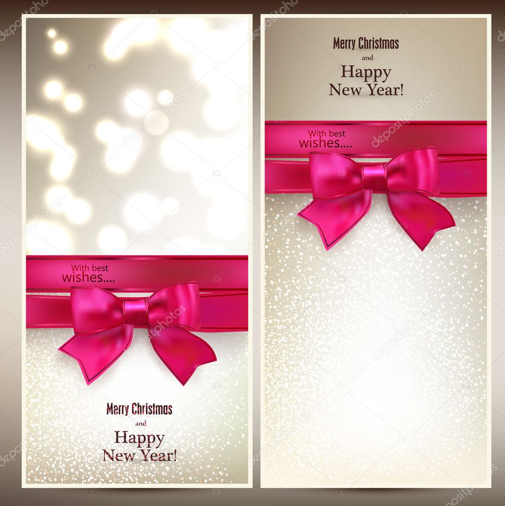 Abstract christmas cards with magenta gift bow and ribbon. Vector illustration. — Vector by Maxborovkov