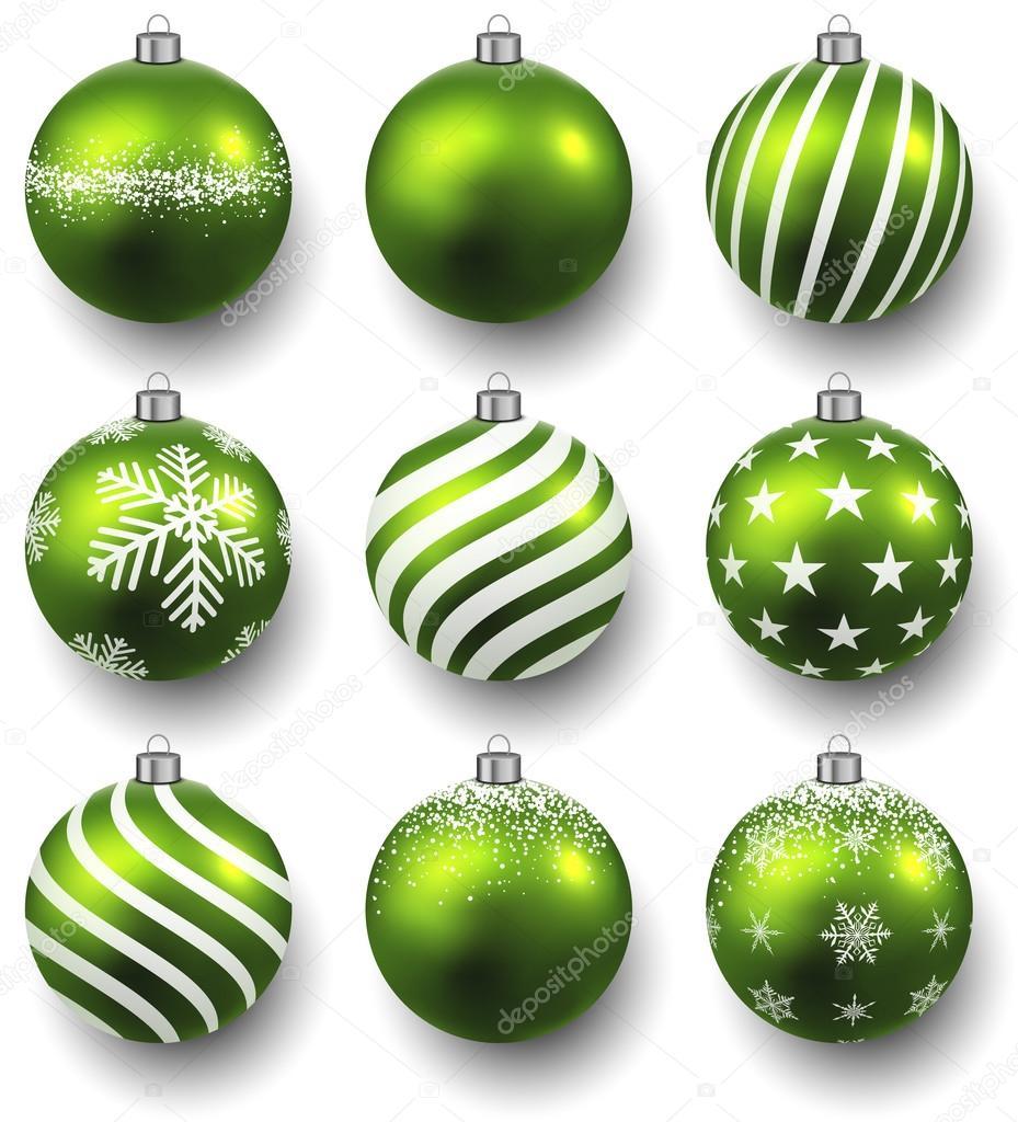 769dd47a7fd9d Bolas de Navidad verdes en superficie blanca. conjunto de decoraciones  realistas aisladas. ilustración vectorial — Vector de ...