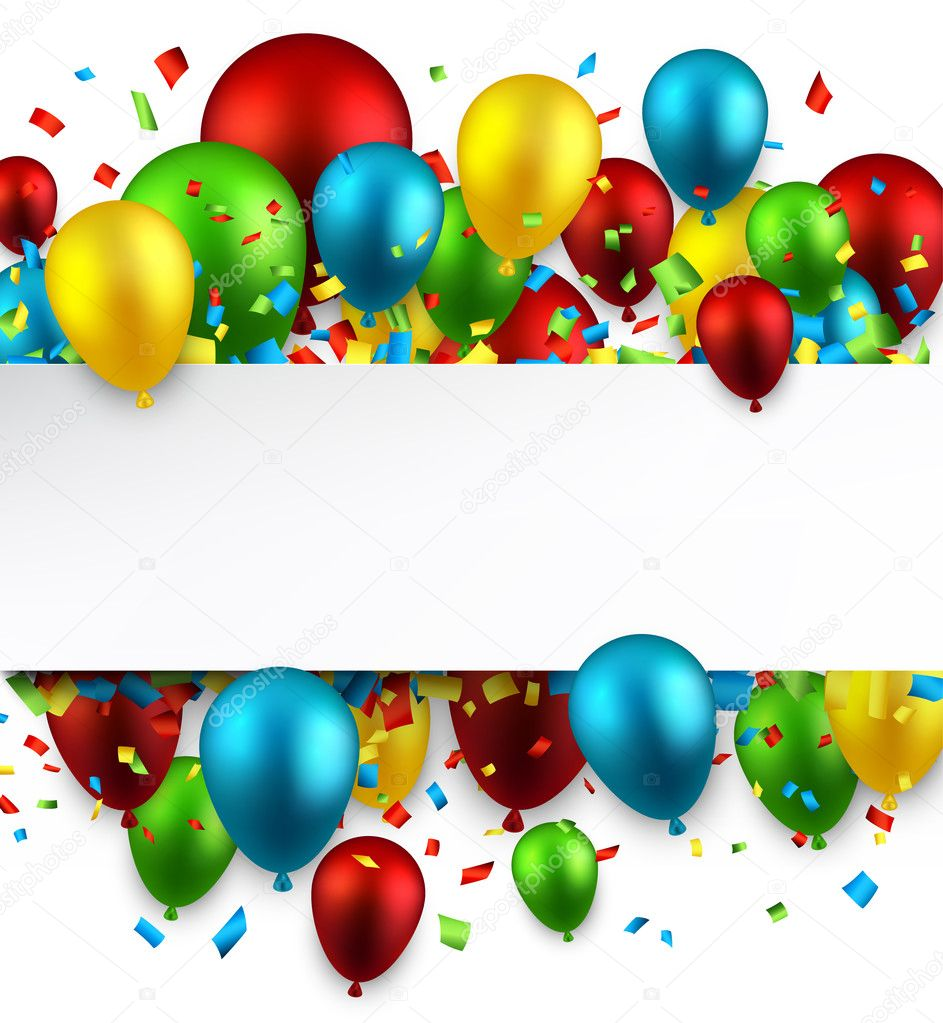 Celebrate colorful background with balloons.