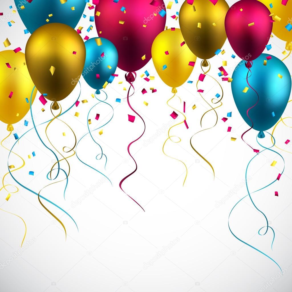 celebrar con globos de colores de fondo — Vector de stock ... 3f38e8b1be6