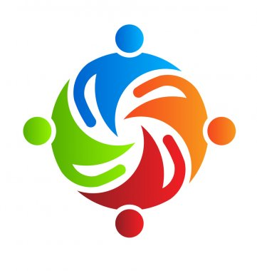Team together 4 design logo element Vector