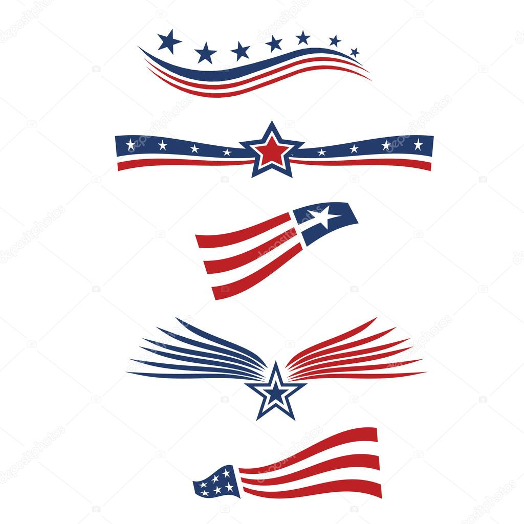 USA star flag design elements
