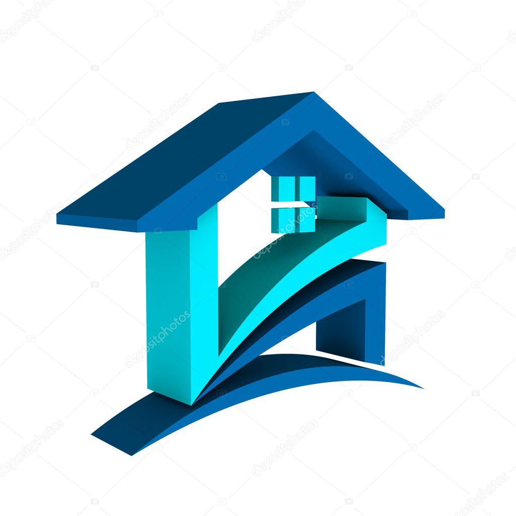 Insignia 3d Casa Azul Foto De Stock 169 Deskcube 36834183