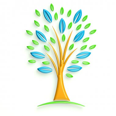 3D Logo Tree with blue and green
