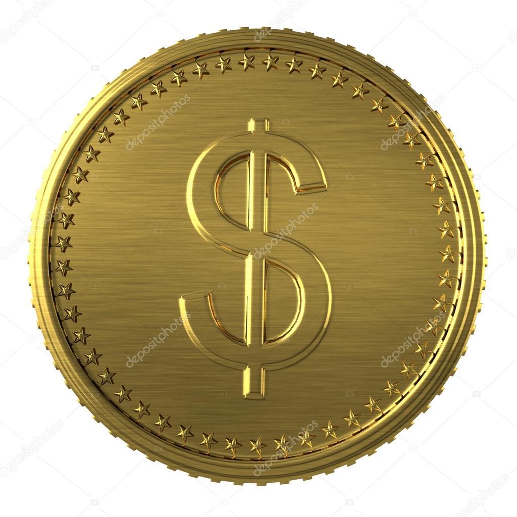 Gold Dollar Münze In Weißen Hintergrund Isoliert Stockfoto