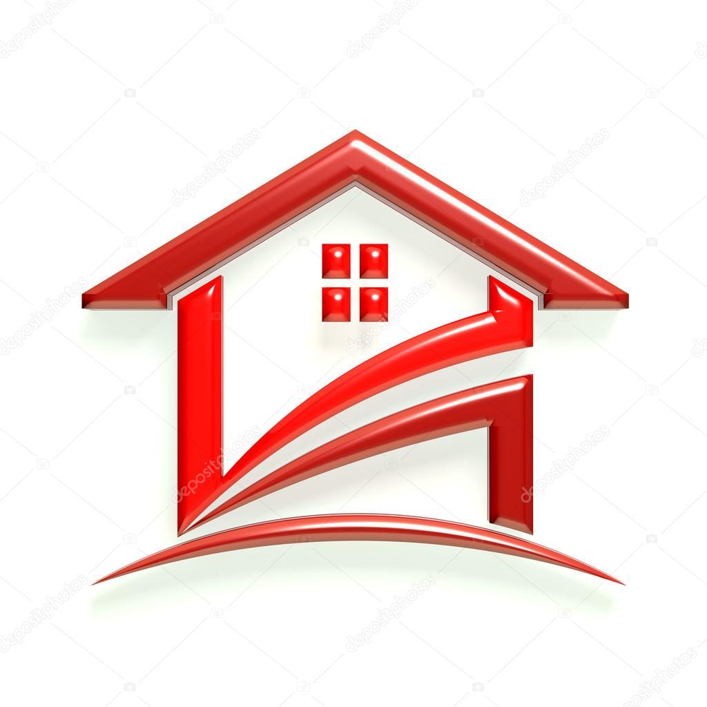 Casa Roja Brillante Logotipo 3D