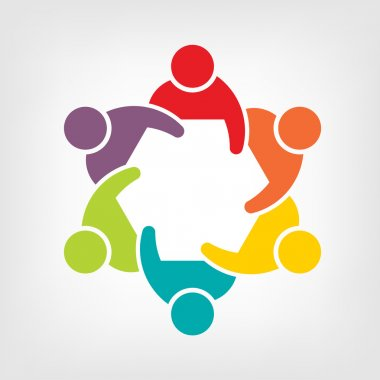 Vector Teamwork Meeting 6. Group of People clip art vector