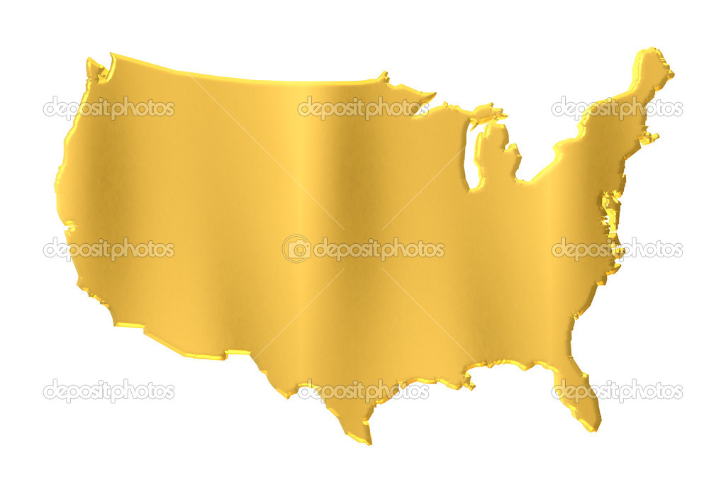 Gold USA Map Glossy Contour Stock Photo Deskcube - Map of gold in the us