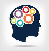 Vektorkopfgetriebe. Abstraktion des denkenden Geistes. diese Ikone dient als Idee von Teamwork Geist, Arbeitsdenken, Gedächtnistraining, Gehirnsystem, Psychologie, Wissen.