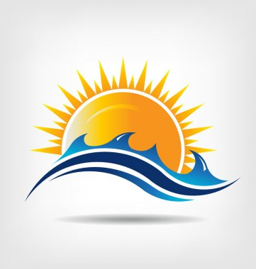 Sea and sun season. Vector icon. Abstraction of summer season
