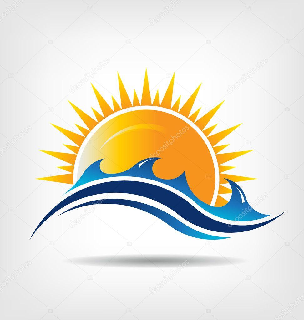 Sea and sun season. Vector icon. Abstraction of summer season