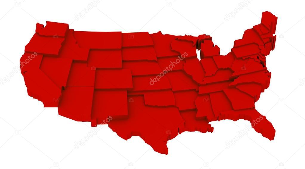 mapa da Estados Unidos vermelho pelos Estados