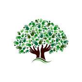 Freundschaftsverbindung Baum Bild. Hände auf der Hand Baum Logo