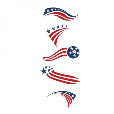 USA star flag and stripes design elements.Logo