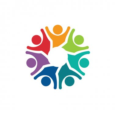 Teamwork Optimistic group of 7 people image. Concept of community, friendship, social web