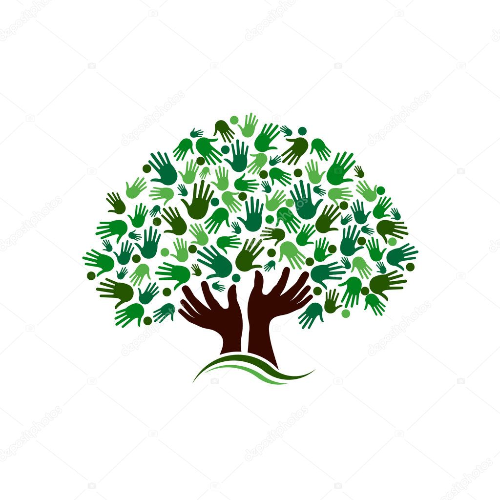 Friendship connection tree image. Hands on hand tree logo