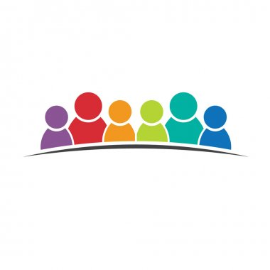Six people friends. Group of persons logo