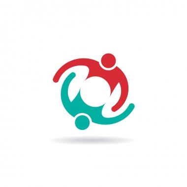 Vector Teamwork Embrace 2 persons logo
