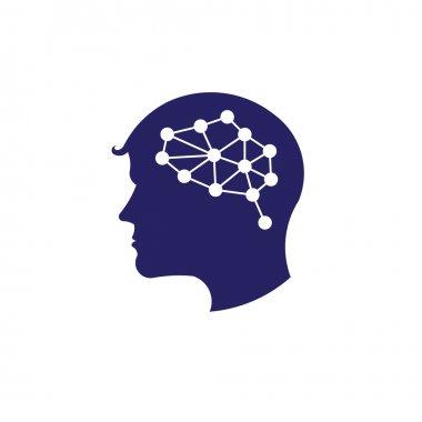 Concept of network brain logo