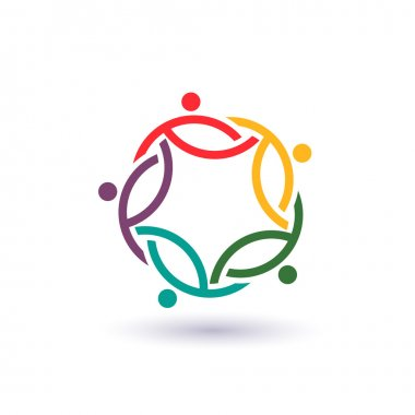 Teamwork 5 international circle .Concept group of connected people , helping each other.Vector icon clip art vector