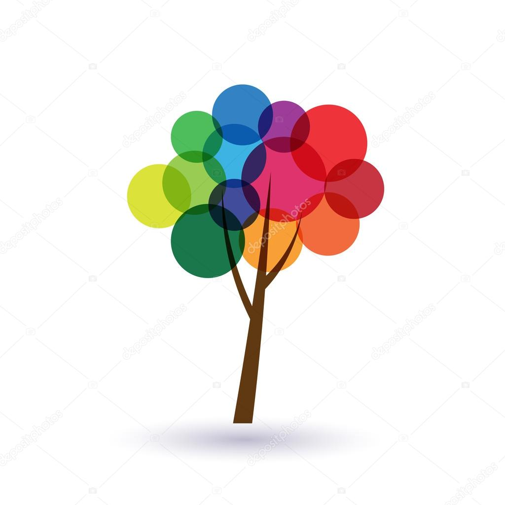 Multicolored circles tree image logo