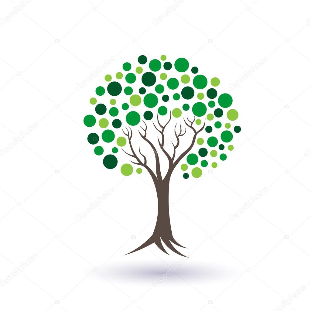 Green circles tree image logo design