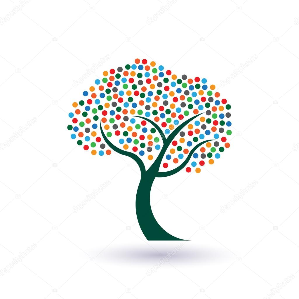Multicolored circles tree image. Concept of fruitful and prosperous life logo