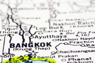 close up of Bangkok on map, thailand