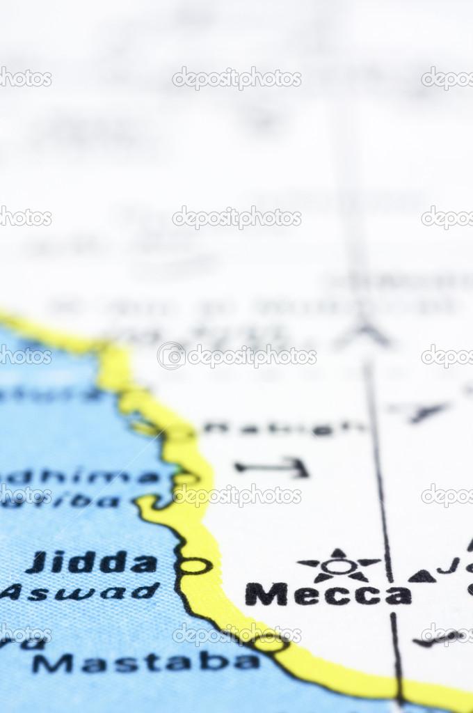 Close up of Mecca on map, Saudi Arabia — Stock Photo ...