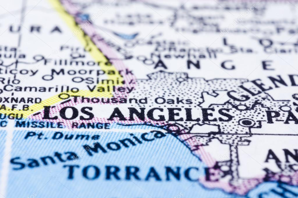 Close Up Of Los Angeles On Map United States Stock Photo - Los angeles on the map