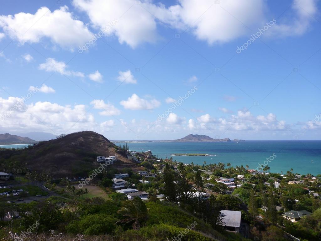 Lanikai and Kailua Bay from top mountain on O'ahu, Hawai'i