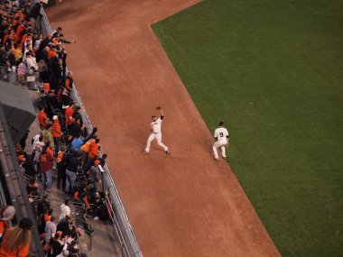 Giants Outfield grabs flyball on the warning track of the outfie