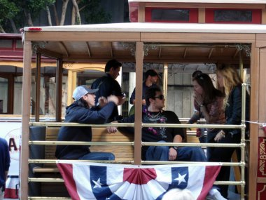 Giants Tim Lincecum and dan runzler sit on Trolley and talk stor