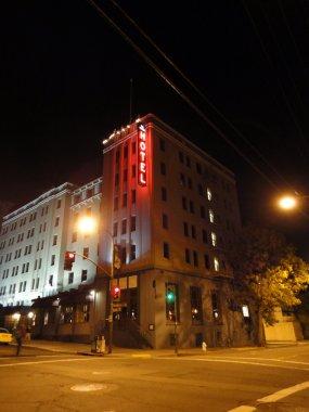 Historic Hotel Durant at Night in Berkeley, California.