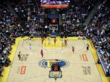 Golden State Warriors start a fastbreak down the Basketball Cour
