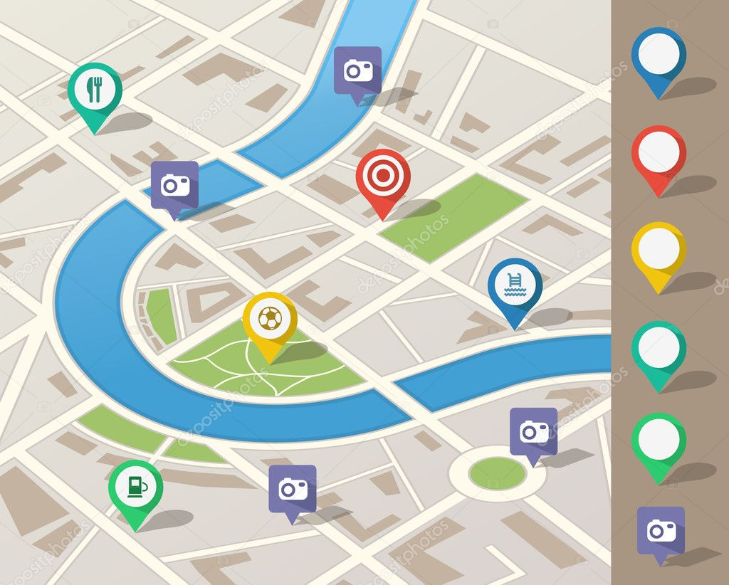 City map illustration with location pins