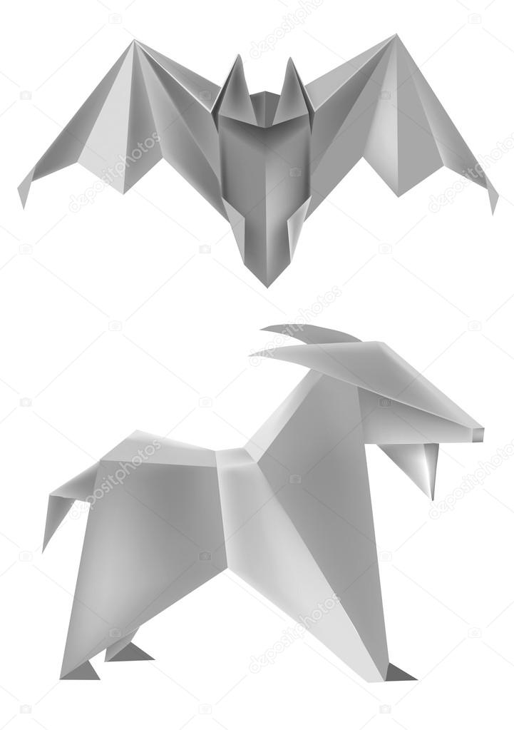 Origami Bat Goat Stock Vector Chachar 13246983
