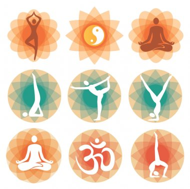 Yoga positions icons backgrounds