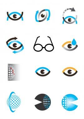 Optics eye icon set