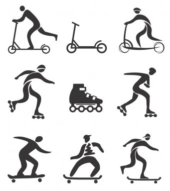 Scooter in line skateboard black icons