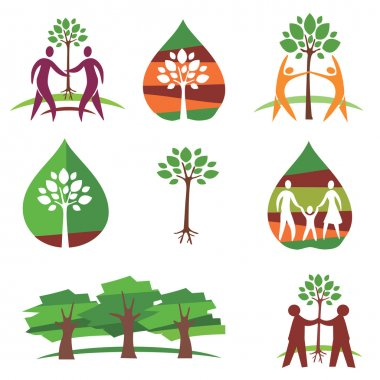 People and trees colorful icons