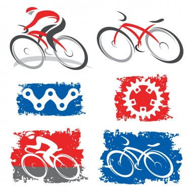 Cyclists and cycling elements icons