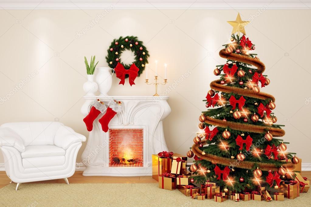 Fesselnd Ein Wohnzimmer Schmücken Zur Weihnachtszeit Mit Kamin, Firtree Und Sessel  In 3d U2014 Foto Von Modest_V