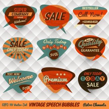 Vintage Style Speech Bubbles Cards clip art vector